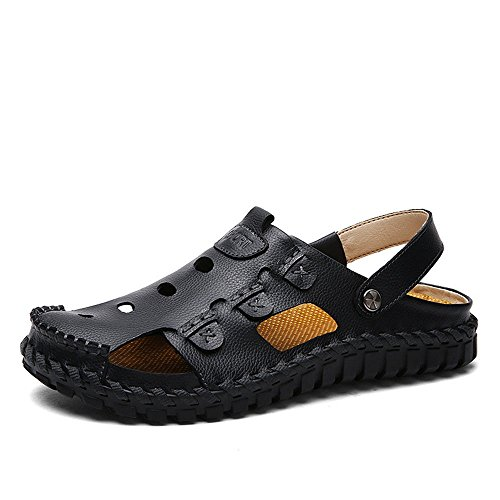 Leather Sandals Head Round Beach Black Breathable QXH Shoes Casual Men's gIUZxZ