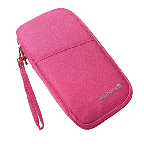 Passport Holder Pouch, Travel Wallet Organiser Case Credit Cards Ticket IDs Document Smartphone Bags for Men and Women - with Removable Wristlet Strap