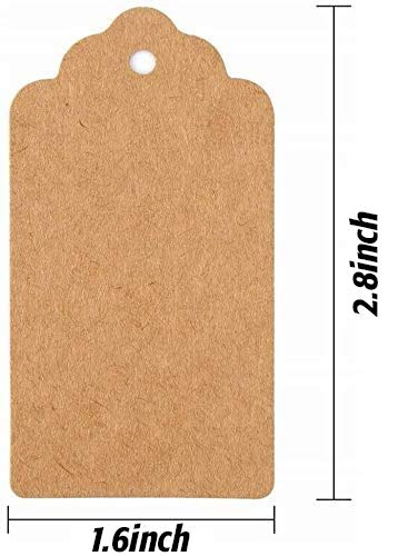 SallyFashion 200pcs Kraft Paper Gift Tags with Free 200 Root Natural Jute Twine(Water Ripple)