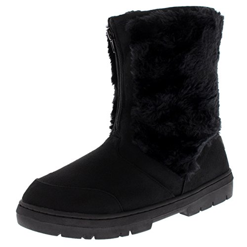 Womens Rain Winter Ski Warm Fashion Comfy Snow Mid Calf Boots - Black - US7/EU38 - AEA0507 (Boots Winter Rain Snow)