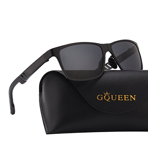 Negro UV400 de sol hombres Mg 1 protección polarizadas Caminante gafas Retro Gris GQUEEN MS0 Al Bastidor aSFnSx6