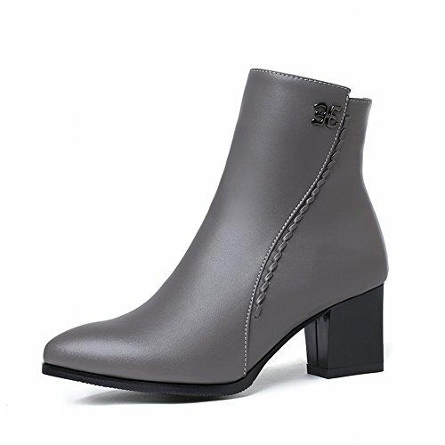 Una O Gruesos De Algodn Eur34 Punta Peque Gris Zapatos Sola Tama Botas Ms Moda Con Cachemira Mujer q6tUcYFY