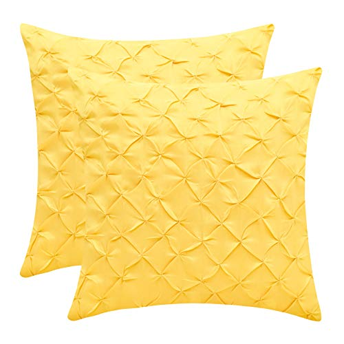 The White Petals Canary Yellow Euro Sham Covers (Faux Silk, Pinch Pleat, 26x26 inch, Pack of 2)