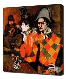 Pablo Picasso - Harlequin Framed Canvas Art Print Reproduction