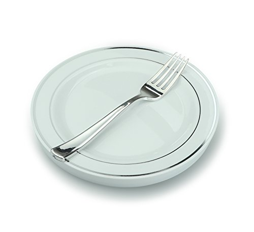 '' OCCASIONS'' Wedding Party Heavyweight Disposable Plastic 7.5'' Silver Rim Plates + Forks set (Appetizer/Dessert Setting, 60 Settings) by OCCASIONS FINEST PLASTIC TABLEWARE