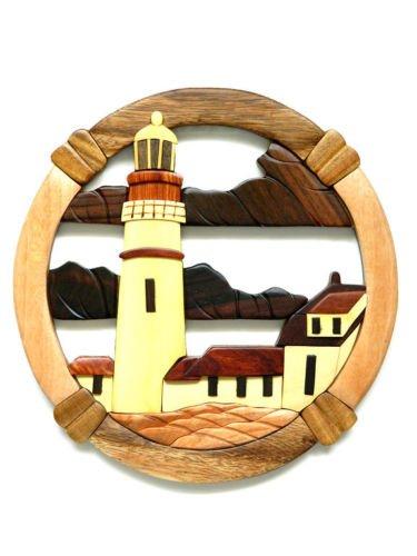 (Portland Head Lighthouse Intarsia Wood Wall Art Home Decor Plaque)