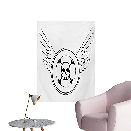 Anzhutwelve Skull Wallpaper Grungy Old Icon Stamp Design Skull Figure in Circle with Angel Wings MonochromeBlack and White W32 xL48 Poster Print