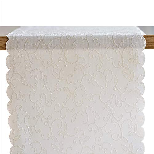 Turkish Table Runner Premium Polyester Table Linen - Stain Resistant Washes Easily Non Iron - Thanksgiving Christmas Table Decorations Wedding Parties New Year Gift Idea (IVORY, Tablerunner -