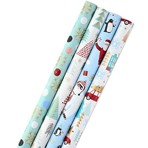 Hallmark Holiday Wrapping Paper Bundle with Cut Lines on Reverse, Quirky Christmas (Pack of 4, 120 sq. ft. ttl) Yeti, Santa, Penguin, Snowflakes, Blue, Gold (Mouse Christmas Mickey Paper Wrapping)