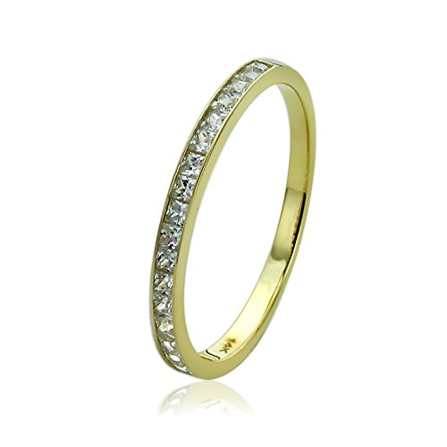 14K Yellow Gold 0.57 ct.tw Princess CZ Channel Setting Half Eternity Band Wedding Anniversary Ring, 5