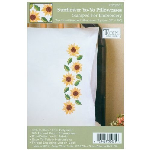 """Stamped Pillowcase Pair For Embroidery, Sunflower Yo-Yo, 20"""""""