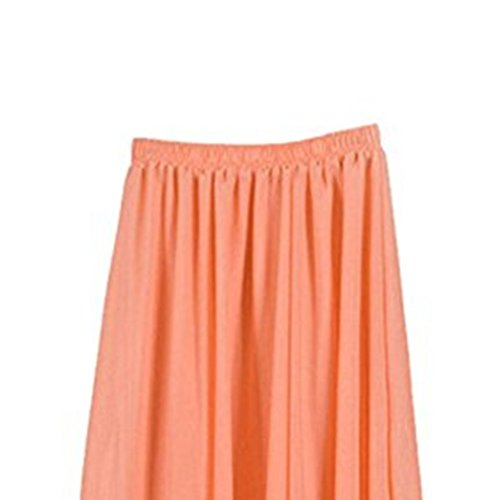 de Plisse Femme Patineuse Haute Couleurs Taille Jupe Double Mousseline Longue FuweiEncore Couches Taille en Jupe Orange Jupe lastique Soie Varies q4gwgPI5
