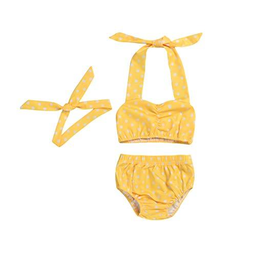 Baby Girl Bikini,Kids Toddler Polka Dot Swimsuits Halter Swimwear Bikinis Set with Headband (Yellow, 6-12M)