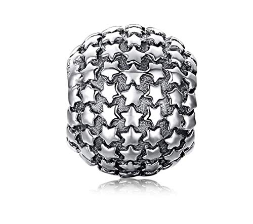 EVESCITY Many Styles Silver Pendents 925 Sterling Beads Fits Pandora, Similar Charm Bracelets & Necklaces (Pave Stars)