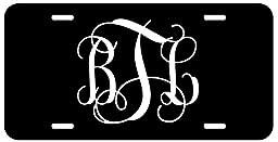 Personalized Monogram License Plate - Black White Fancy Custom Initials Auto Car Tag
