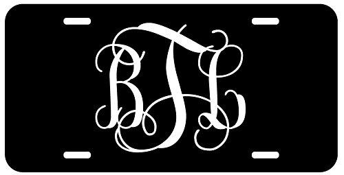 License Plate Tag Car Auto - Personalized Monogram License Plate - Black White Fancy Custom Initials Auto Car Tag