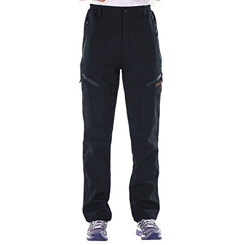 Nonwe Women's Warmth Windproof Fleece Skiing Trousers Black XL - Womens Pants 18 Ski Size