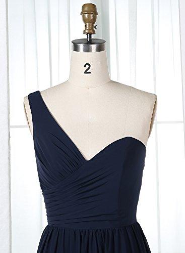 Alagirls Femmes Une Robes De Demoiselle D'honneur En Mousseline De Soie Épaule Longues Robes De Fête De Mariage Blanc