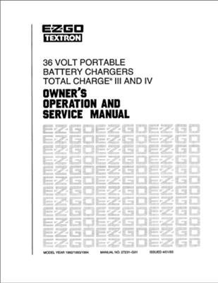 EZGO 27231G01 1992-1994 Owner Operator and Service Manual...