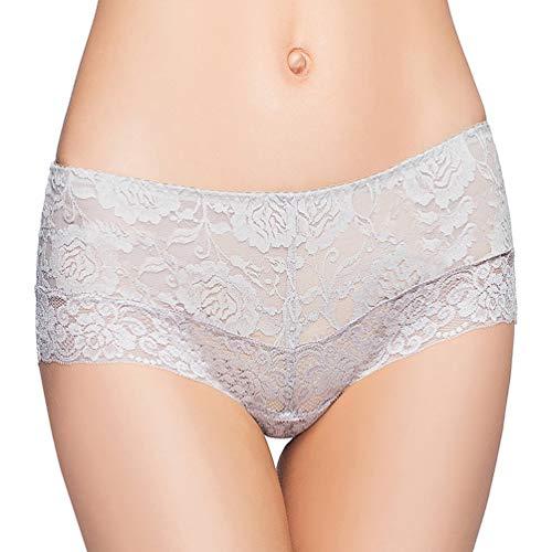 Eve's temptation Women Lily Everyday Mid-Waist Panties Lace Slimming Tummy Control Underwear Full Coverage Boyshorts-Gray XX-Large