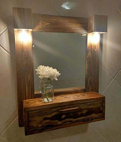 Mueble de ba o tocador con luces de madera reciclada de for Confeccionamos muebles de bano en palet