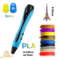 3D Pen for Model Doodling-Prototyping and Arts Crafts DIY Kids Adults, 3D Drawing Printing Pen with 18 Colors 180 Feet 1.75mm PLA Filament Refills-Blue by Me Suger