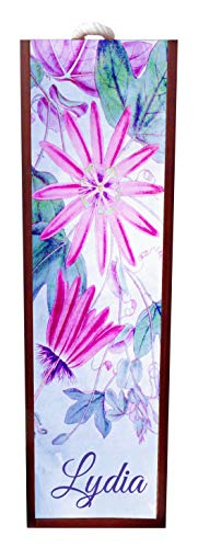 Jacks Outlet Watercolor Floral Flowers Print Wine Box Personalized - Wine Box Rosewood with Slide Top - Wine Box Holder - Wine Case Decoration - Wine Case Wood - Wine Box Carrier