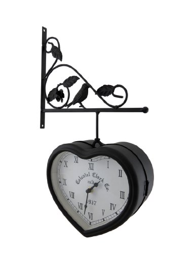 Things2die4 Metal Wall Clocks 51720 Double Sided Hanging Heart Shaped Clock W/Decorative Bracket 10.25 X 16.75 X 4 Inches Black (Man Heart Wizard Tin Oz Of)