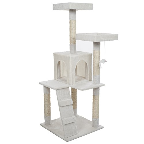 PETMAKER Penthouse Sleep and Play Cat Tree, 4', White (Penthouse Condo)