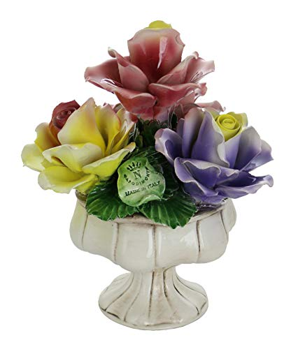 Capodimonte Authentic Italian Yellow Rose, Pink & Purple Flower Quattro Centerpiece Stand Authentic Made in Italy 10