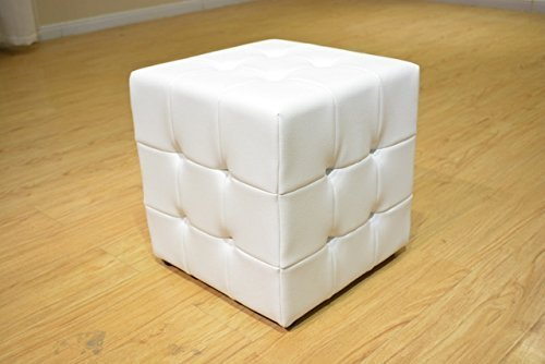 Greatime OM1001WH Tufted Cube Ottoman, Leather Like Vinyl, (Vinyl Square Storage Ottoman)