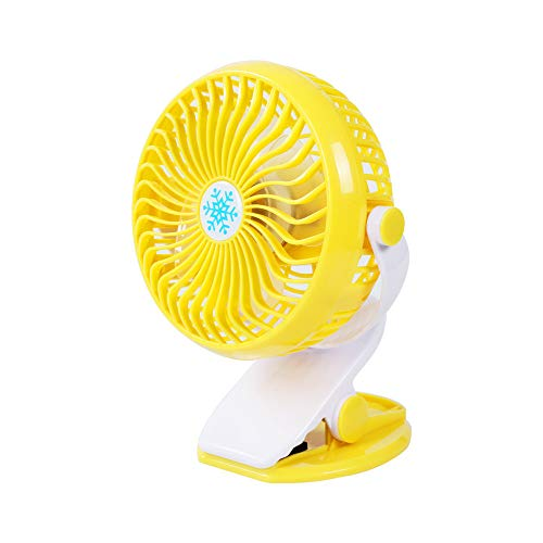 Yu2d  Portable Mini Table Fan USB Power Clip On Desk Cooling for Baby Stroller and Car(Yellow) -