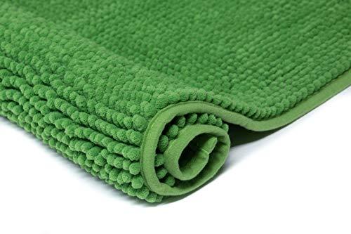 Klickpick Designs Bath Mats Super Soft Bath Mat Chenille Bath Rugs Microfiber Shaggy Bathroom mat Non Slip Bathroom Rug High Absorbent Bath Rug with Non Skid Backing- Green,20x32 Inches by Klickpick Designs