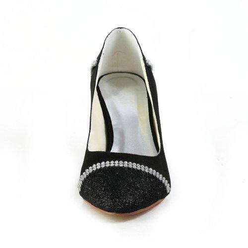121757 Cuñas de Bridal del Pumps dedo Wommen boda de Jia Baile Fiesta satén Jia pie Zapatos Black Cerrado RwEtUqxW