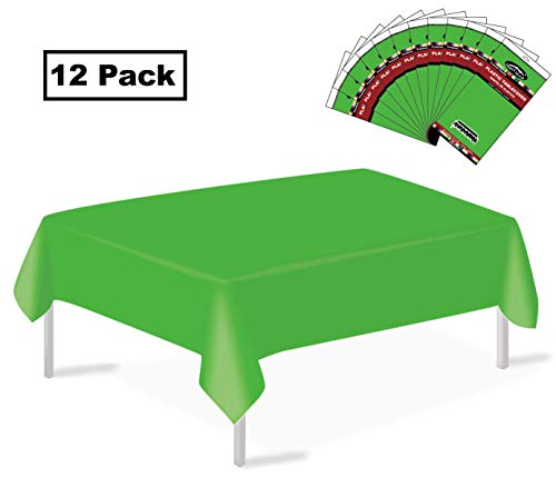 12 Pack Plastic Tablecloth Lime Green Disposable Table Covers Premium 54 Inches x 108 Inches Rectangle Tablecovers for up to 8 Feet Tables Dining Picnic Barbecue Birthdays Weddings Occasions -