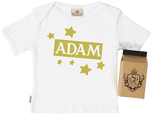 SR - Gift Boxed PERSONALISED Custom Name & Stars Baby T-Shirt - Baby T Shirt - Baby Top - Personalised Baby Clothing, White - 0-6 - Sr Custom Clothing