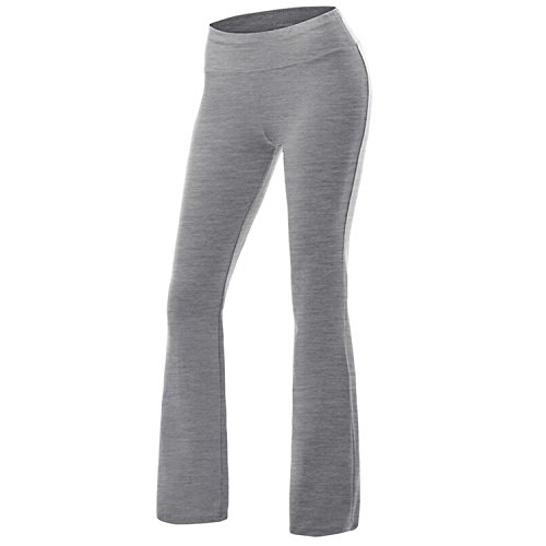 Women's Solid Cotton Spandex Boot Cut High Waisted Flare Yoga Pants Workout Casual Trousers Comfortable Flared Leggings Light Grey ()