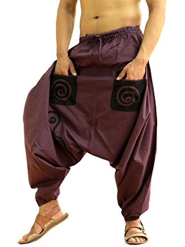 Sarjana Handicrafts Men's Cotton Pockets Harem Yoga Baggy Genie Hippie Pants (Free Size, Purple) -