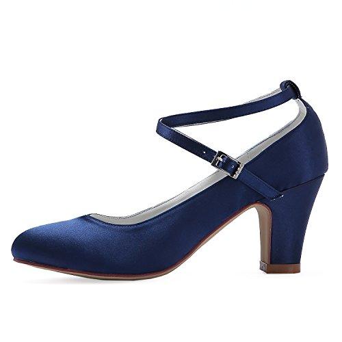 Ankle Pumps Elegantpark Shoes Navy Heel Cross Closed Wedding Toe Chucky Strap blue Women Satin Bridal TaTnwxIqE4
