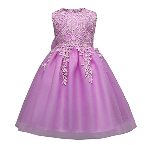D-XinXin Girl's Sleeveless Bow Lace Dress Gown Bowknot Kids Girl Dress Princess Formal Pageant Gown Party Bridesmaid Dress (12M, Purple)
