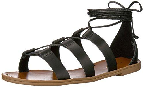 Aldo Women's Xavierra Flat Sandal, Black Leather, 7.5 B US (Aldo Flats Black)