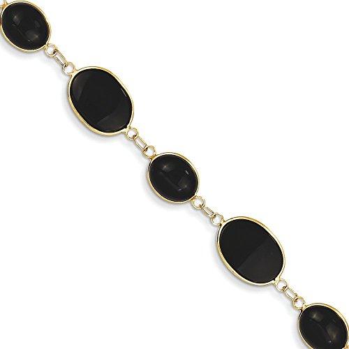 7 pouces poli 14 carats pour Bracelet fantaisie-Onyx-JewelryWeb pince de homard