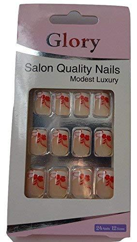 Gloria Modesto calidad uñas postizas con pegamento, 12-size, 24 piezas: Amazon.es: Belleza