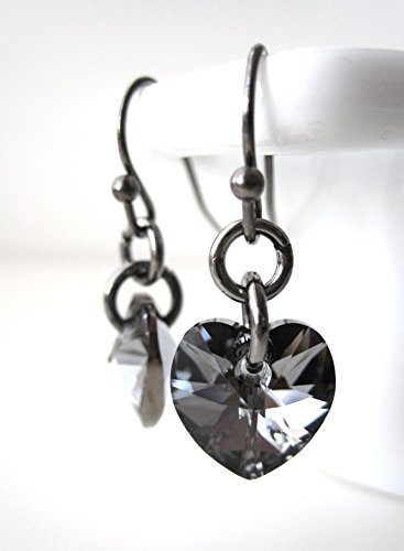 - Small Black Diamond Swarovski Crystal Heart Earrings with Black Gunmetal, Valentines Day Jewelry Gift for Teen Girl