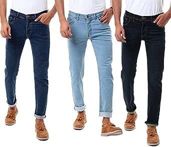 مجموعة من 3بناطيل جينز بأزرار - أزرق متوسط وأزرق كحلي وأسود
