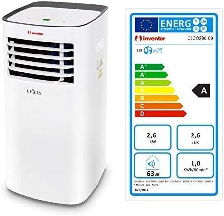 Inventor Chilly 9.000 Btu/h Climatiseur Portable 3-en-1 Refroidissement & Capacité de Déshumidification et de Ventilation (2 Ans de Garantie)