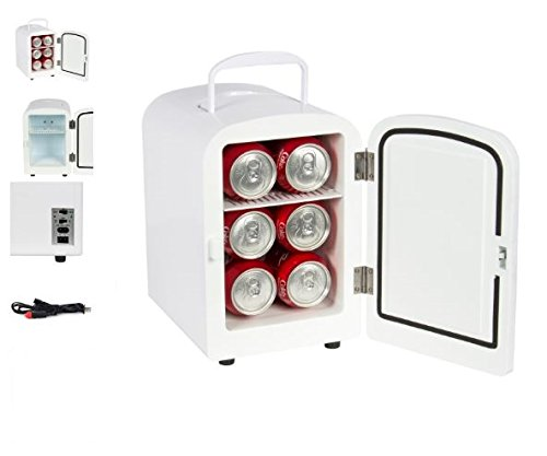 Price comparison product image Quality Kitchenware - Portable Mini Fridge - Both Cooler and Warmer - Auto Car Boat Home Office AC & DC- White Color - Compact Classic Travel 12v Refrigerator - Iceless Cold Beverage - Convenient