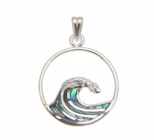 Sterling Silver Wave Pendant - 925 Sterling silver Hawaiian ocean wave 20mm circle abalone paua shell pendant