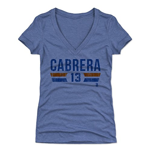 500 LEVEL Asdrubal Cabrera Women's V-Neck Shirt Small Tri Royal - New York Baseball Women's Apparel - Asdrubal Cabrera New York Font B
