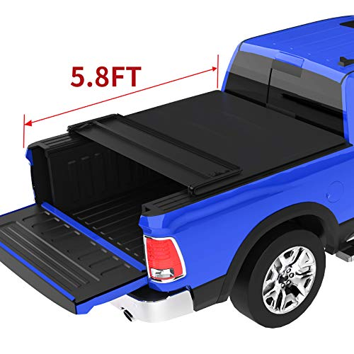 oEdRo Quad Fold Tonneau Cover Soft Four Fold Truck Bed Covers Compatible for 2009-2019 Dodge Ram 1500 5.8' Bed (Incl. 2019 New Body), Fleetside (for Models w/o Ram Box)